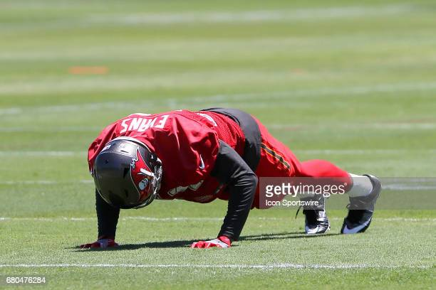 Justin Evans does pushups after making an error during the Buccaneers Rookie Camp on May 06 2017 at One Buccaneer Place in Tampa Florida