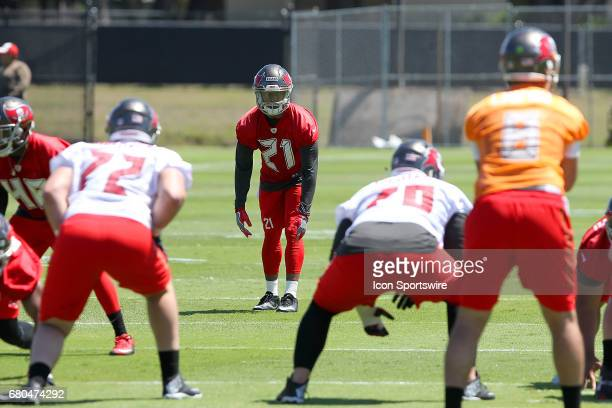 Justin Evans looks into the backfield before the snap during the Buccaneers Rookie Camp on May 06 2017 at One Buccaneer Place in Tampa Florida
