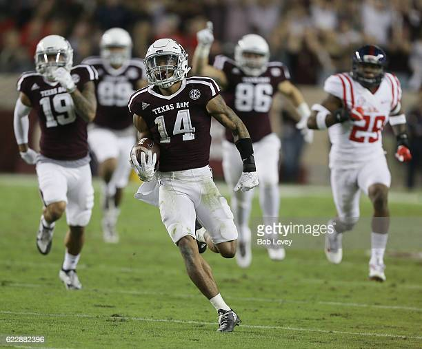 Justin Evans of the Texas AM Aggies returns a kickoff 90 yards in the second quarter against the Mississippi Rebels pursues at Kyle Field on November...
