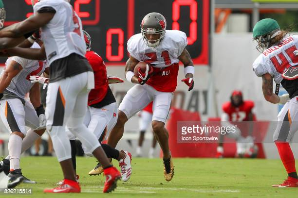 Justin Evans returns the football during the Tampa Bay Buccaneers Training Camp on AUG 03 2017 at One Buccaneer Place in Tampa Florida