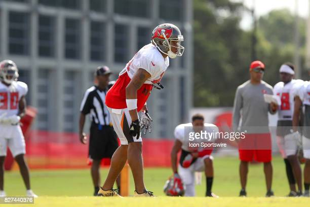 Justin Evans sets up on defense during the Tampa Bay Buccaneers Training Camp on August 2017 at One Buccaneer Place in Tampa Florida