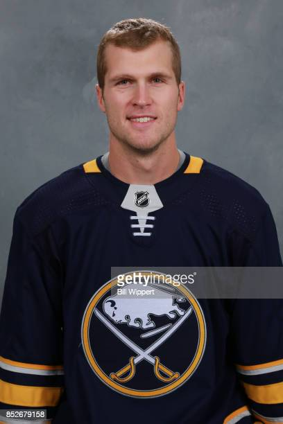 Justin Falk of the Buffalo Sabres poses for his official headshot for the 20172018 season on September 14 2017 at the KeyBank Center in Buffalo New...