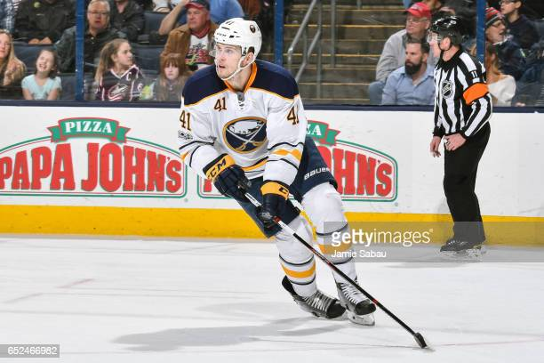 Justin Falk of the Buffalo Sabres skates against the Columbus Blue Jackets on March 10 2017 at Nationwide Arena in Columbus Ohio