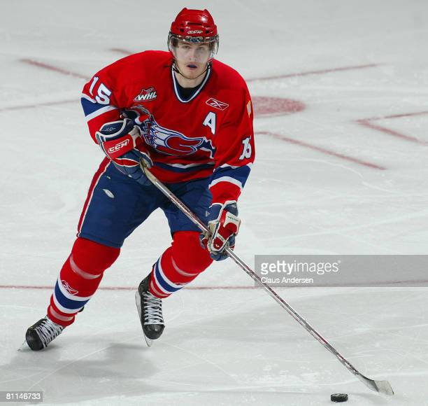 Justin Falk of the Spokane Chiefs heads up ice with the puck against the Kitchener Rangers in a Memorial Cup round robin game on May 18 2008 at the...