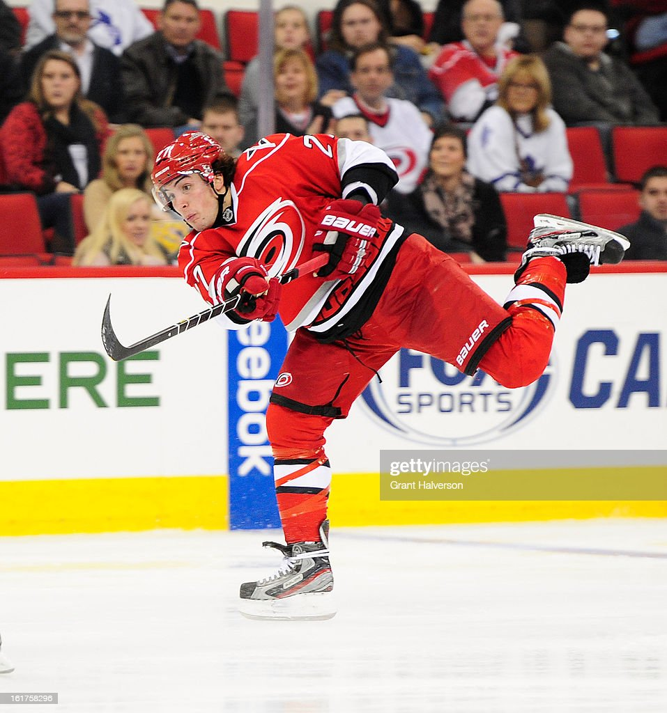 Justin Faulk #27 of the Carolina Hurricanes against the Toronto Maple Leafs during play at PNC Arena on February 14, 2013 in Raleigh, North Carolina. Carolina defeated Toronto 3-1.