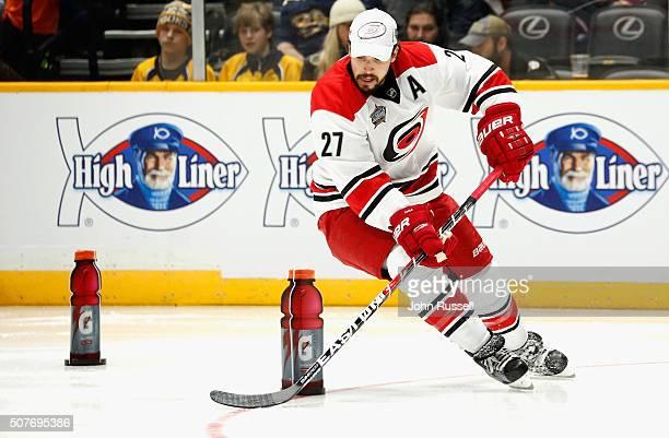 Justin Faulk of the Carolina Hurricanes competes in the Gatorade NHL Skills Challenge Relay during 2016 Honda NHL AllStar Skill Competition at...