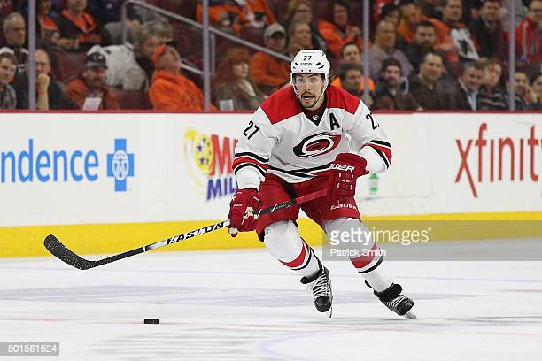 Justin Faulk of the Carolina Hurricanes in action against the Philadelphia Flyers at Wells Fargo Center on December 15 2015 in Philadelphia...