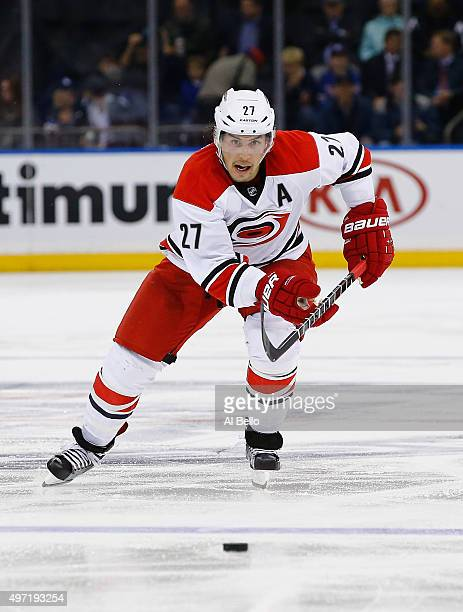Justin Faulk of the Carolina Hurricanes in action against the New York Rangers during their game at Madison Square Garden on November 10 2015 in New...