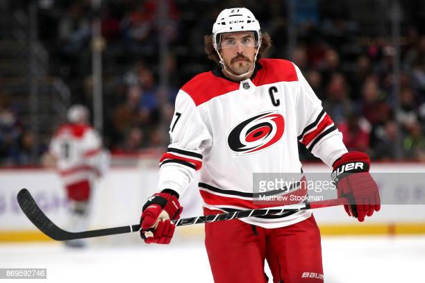 Justin Faulk of the Carolina Hurricanes plays the Colorado Avalanche at the Pepsi Center on November 2 2017 in Denver Colorado
