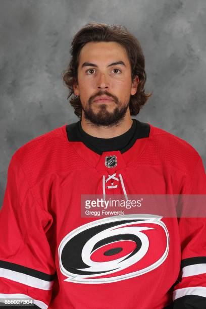 Justin Faulk of the Carolina Hurricanes poses for his official NHL headshot for the 20172018 season on September 14 2017 at Carolina Family Practice...
