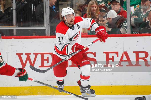 Justin Faulk of the Carolina Hurricanes skates against the Minnesota Wild during the game on April 4 2017 at the Xcel Energy Center in St Paul...