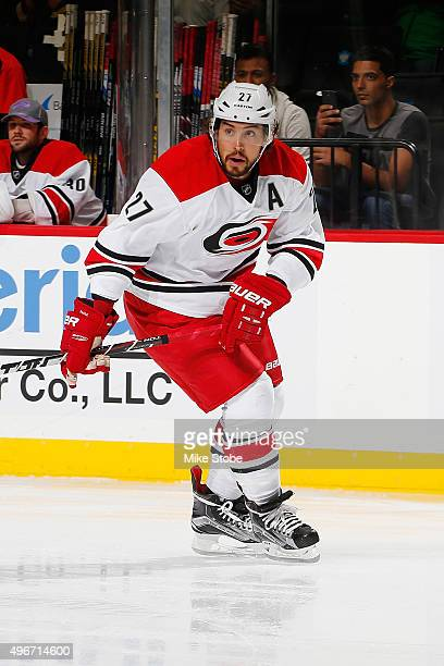 Justin Faulk of the Carolina Hurricanes skates against the New York Islanders at the Barclays Center on October 29 2015 in Brooklyn borough of New...