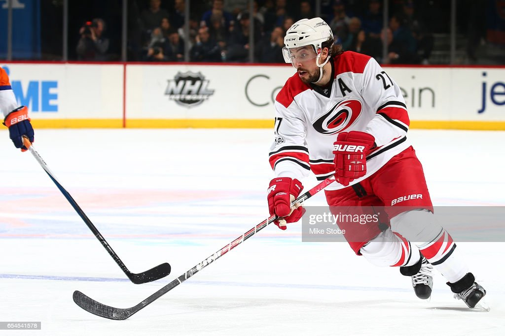 Justin Faulk #27 of the Carolina Hurricanes skates against the New York Islanders skates against the Carolina Hurricanes at the Barclays Center on March 13, 2017 in Brooklyn borough of New York City. Carolina Hurricanes defeated the New York Islanders 8-4.