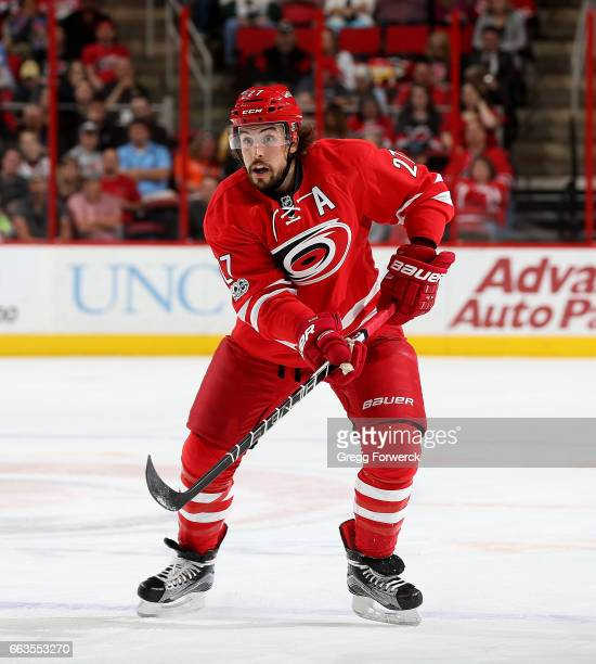 Justin Faulk of the Carolina Hurricanes skates for position during an NHL game against against the Dallas Stars on April 1 2017 at PNC Arena in...