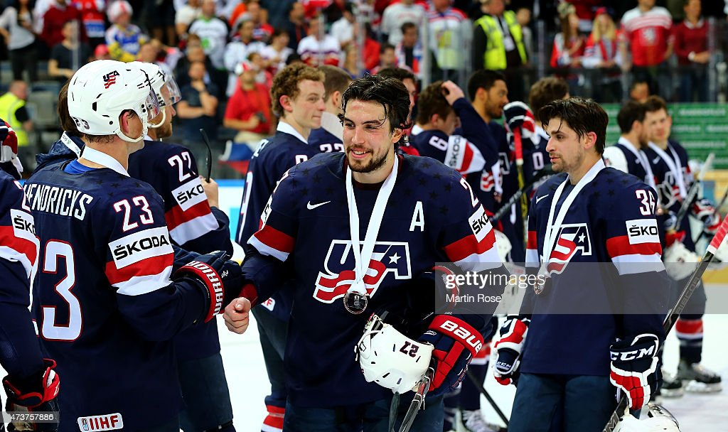 Justin Faulk #27 of USA celebrate victory after the IIHF World Championship bronze medal match between Crech Republic and USA at O2 Arena on May 17, 2015 in Prague, Czech Republic.