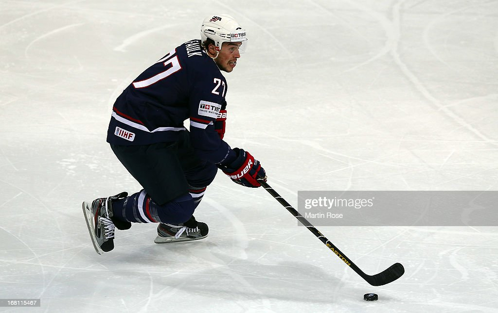 Justin Faulk of USA skates wit the puck during the IIHF World Championship group H match between Latvia and USA at Hartwall Areena on May 5, 2013 in Helsinki, Finland.