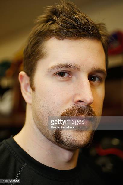 Justin Fontaine of the Minnesota Wild shows off his Movember moustache prior to the game against the St Louis Blues on November 29 2014 at the Xcel...