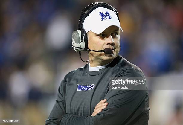 Justin Fuente head coach of the Memphis Tigers looks on against the Navy Midshipmen on November 7 2015 at Liberty Bowl Memorial Stadium in Memphis...