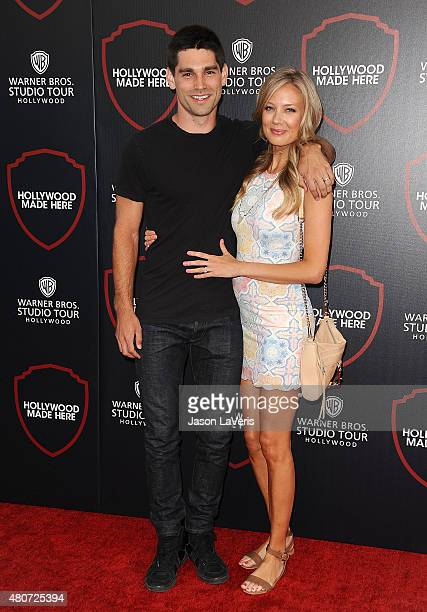 Justin Gaston and Melissa Ordway attend the unveiling of Warner Bros Studio expansion at Warner Bros Studios on July 14 2015 in Burbank California