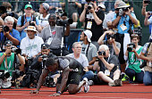 Justin Gatlin celebrates after winning the Men's 200 Meter Final during the 2016 US Olympic Track Field Team Trials at Hayward Field on July 9 2016...
