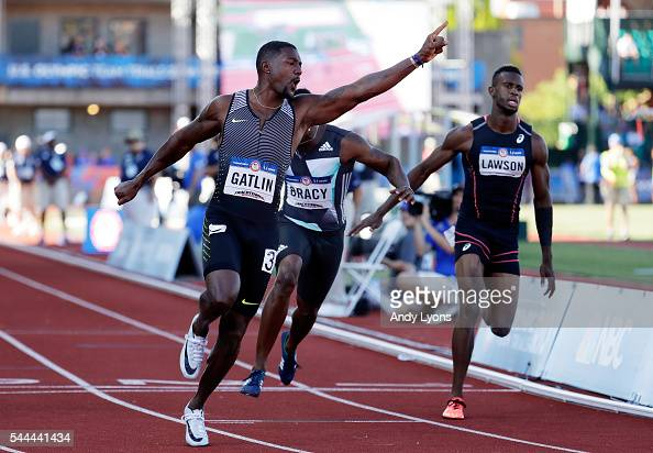 Justin Gatlin celebrates victory in the Men's 100 Meter Final during the 2016 US Olympic Track Field Team Trials at Hayward Field on July 3 2016 in...
