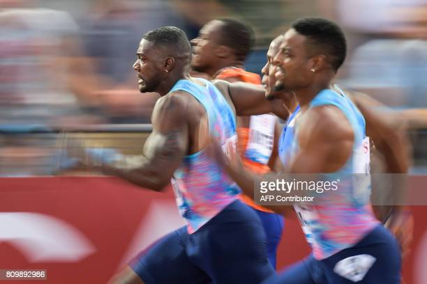 US Justin Gatlin competes to win the 100m men event during the Diamond League athletics meeting Athletissima in Lausanne on July 6 2017 / AFP PHOTO /...