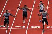 Justin Gatlin first place Ameer Webb third place and LaShawn Merritt second place finish in the Men's 200 Meter Final during the 2016 US Olympic...