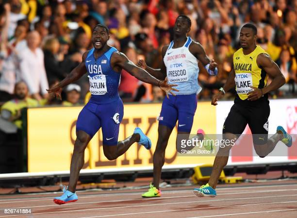 Justin Gatlin of the Unite States wins the Men's 100 metres final in 992 seconds from Reece Prescod of Great Britain and Yohan Blake of Jamaica...