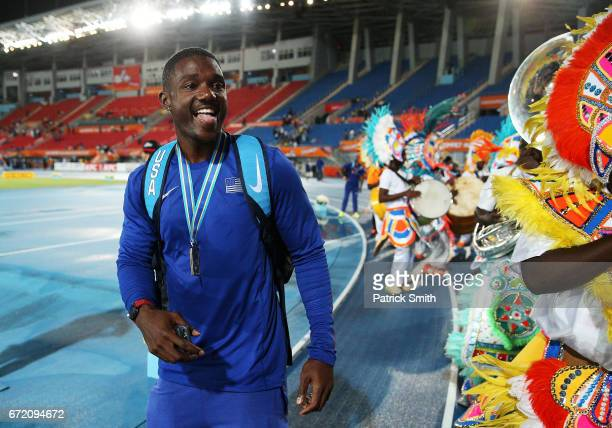 Justin Gatlin of the USA celebrates with Junkanoo dancers after the IAAF/BTC World Relays Bahamas 2017 at Thomas Robinson Stadium on April 23 2017 in...