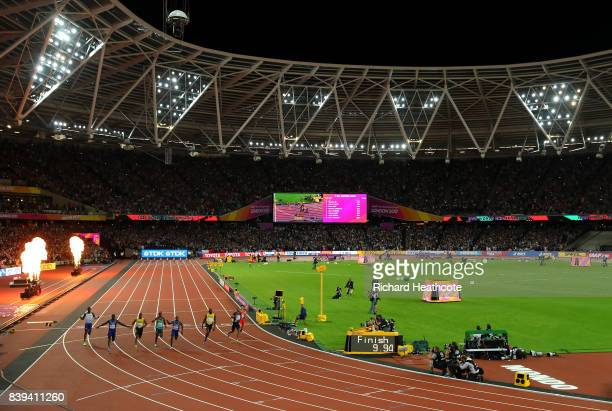 Justin Gatlin of the USA crosses the line to win the 100m final during day two of the 16th IAAF World Athletics Championships London 2017 at The...