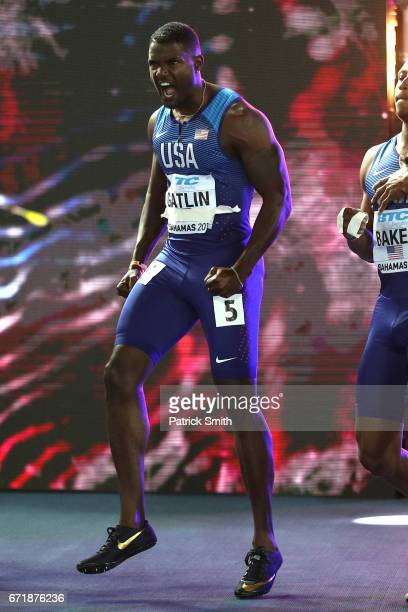 Justin Gatlin of the USA is introduced before the Men's 4 x 100 Meters Relay Final during the IAAF/BTC World Relays Bahamas 2017 at Thomas Robinson...