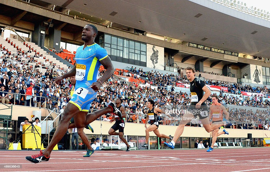 <a gi-track='captionPersonalityLinkClicked' href=/galleries/search?phrase=Justin+Gatlin+-+Athlete&family=editorial&specificpeople=162752 ng-click='$event.stopPropagation()'>Justin Gatlin</a> (L) of USA reacts after winning the Men's 100m during the Seiko Golden Grand Prix Tokyo 2014 at the National Stadium on May 11, 2014 in Tokyo, Japan.