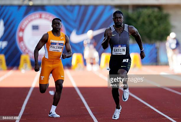 Justin Gatlin runs to victory ahead of Christian Coleman in the Men's 100 Meter Final during the 2016 US Olympic Track Field Team Trials at Hayward...