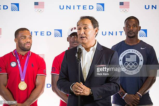 Justin Gatlin Trayvon Bromell United Airlines CEO Oscar Munoz Jordan Burroughs and United Airlines celebrate Team USA as over 85 US athletes get...