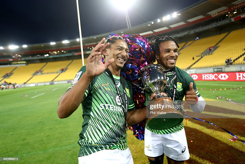 Justin Geduld (L) and Rosko Specman (R) of South Africa celebrate following the gold medal final match between Fiji and South Africa during the 2017 Wellington Sevens at Westpac Stadium on January 29, 2017 in Wellington, New Zealand.