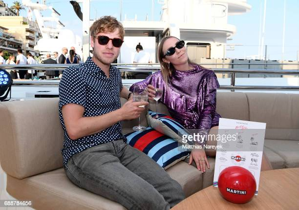 Justin Girdler and Becky Tong celebrate the Monaco Grand Prix at the Martini Yacht Party on May 26 2017 in Monte Carlo Monaco