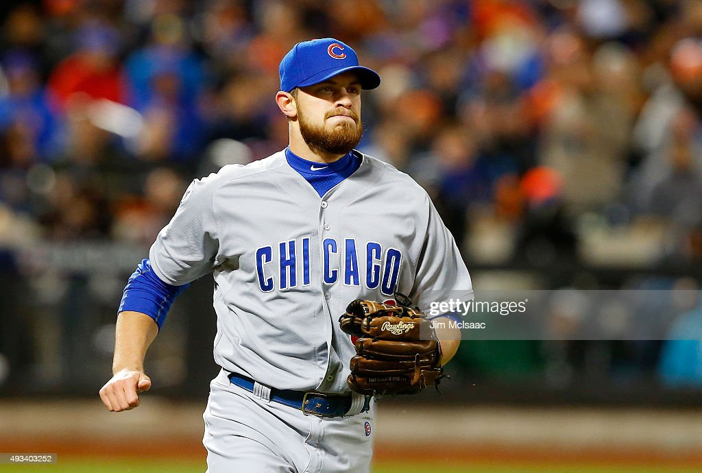 Justin Grimm of the Chicago Cubs in action against the New York Mets during game one of the 2015 MLB National League Championship Series at Citi...