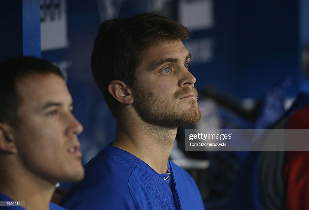 <a gi-track='captionPersonalityLinkClicked' href=/galleries/search?phrase=Justin+Grimm&family=editorial&specificpeople=9480126 ng-click='$event.stopPropagation()'>Justin Grimm</a> #52 of the Chicago Cubs looks on from the dugout during MLB game action against the Toronto Blue Jays on September 10, 2014 at Rogers Centre in Toronto, Ontario, Canada.