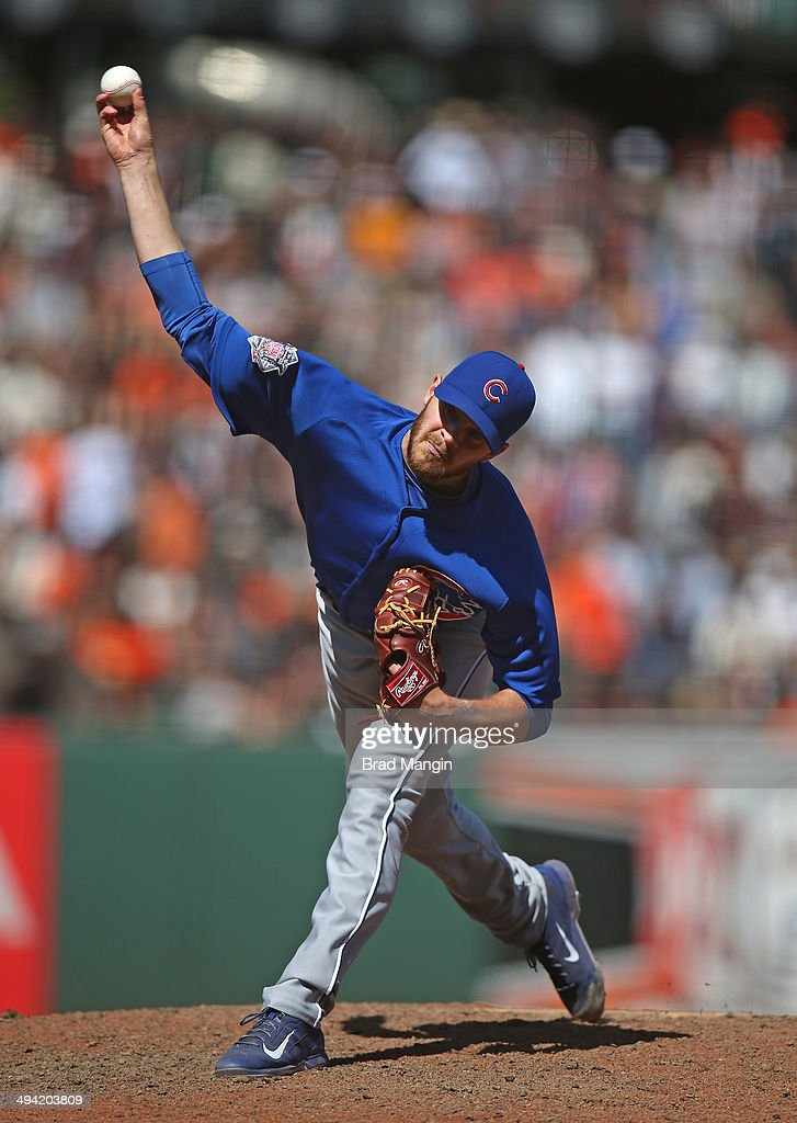 Justin Grimm of the Chicago Cubs pitches against the San Francisco Giants during the game at ATT Park on Wednesday May 28 2014 in San Francisco...