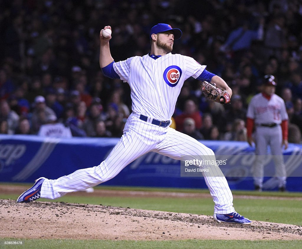 <a gi-track='captionPersonalityLinkClicked' href=/galleries/search?phrase=Justin+Grimm&family=editorial&specificpeople=9480126 ng-click='$event.stopPropagation()'>Justin Grimm</a> #52 of the Chicago Cubs pitches against the Washington Nationals during the seventh inning on May 5, 2016 at Wrigley Field in Chicago, Illinois.