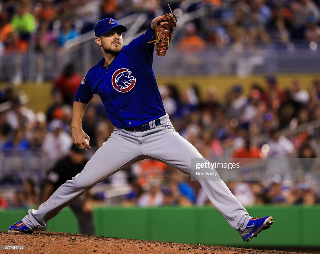 Justin Grimm of the Chicago Cubs pitches during the game against the Miami Marlins at Marlins Park on June 26 2016 in Miami Florida