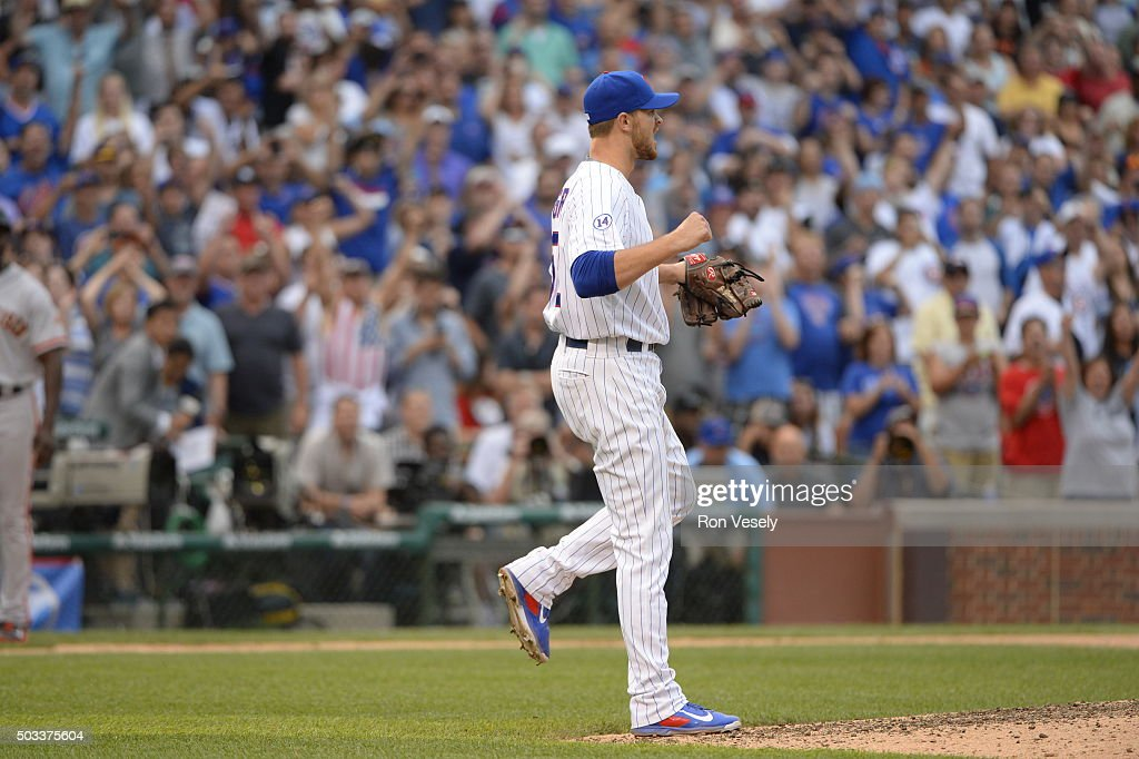 <a gi-track='captionPersonalityLinkClicked' href=/galleries/search?phrase=Justin+Grimm&family=editorial&specificpeople=9480126 ng-click='$event.stopPropagation()'>Justin Grimm</a> #52 of the Chicago Cubs reacts after recording the final out of the game against the San Francisco Giants at Wrigley Field on Saturday, August 8, 2015 in Chicago, Illinois.