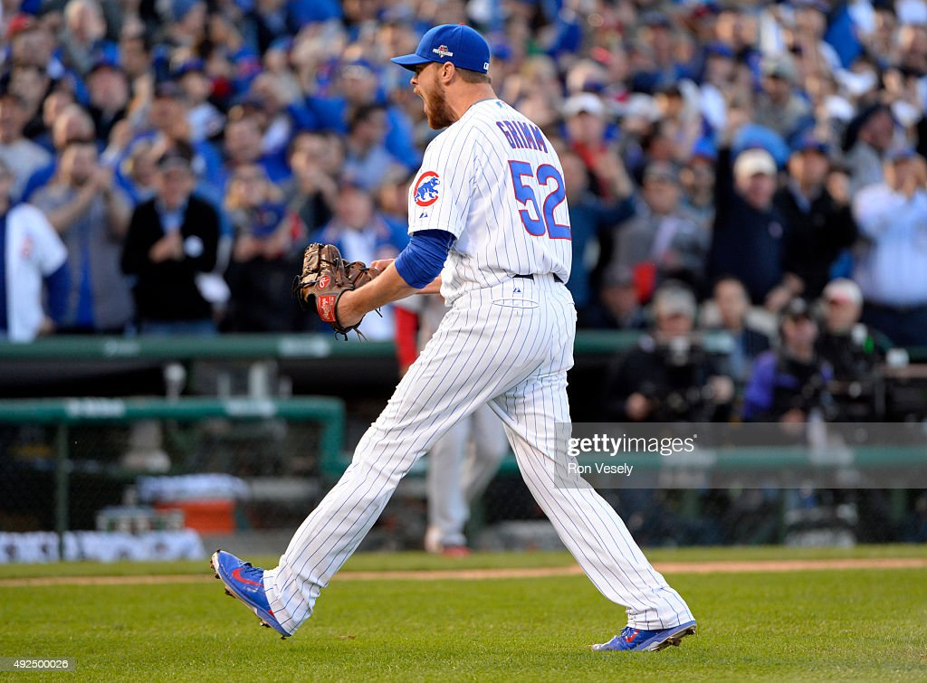 Justin Grimm #52 of the Chicago Cubs reacts after striking out Tommy Pham #60 of the St. Louis Cardinals to end the top of the fourth inning of Game 4 of the NLDS at Wrigley Field on Tuesday, October 13, 2015 in Chicago , Illinois.