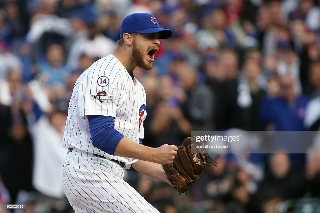 Justin Grimm of the Chicago Cubs reacts after the fourth inning against the St Louis Cardinals during game four of the National League Division...