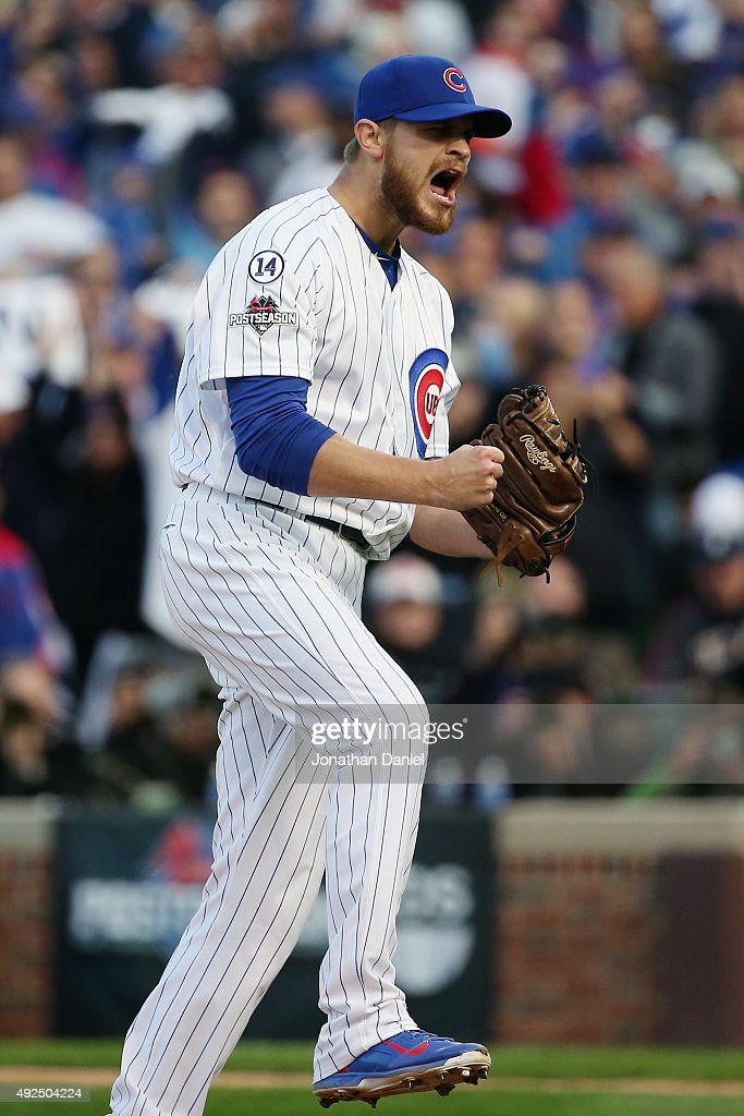 Justin Grimm #52 of the Chicago Cubs reacts after the fourth inning against the St. Louis Cardinals during game four of the National League Division Series at Wrigley Field on October 13, 2015 in Chicago, Illinois.