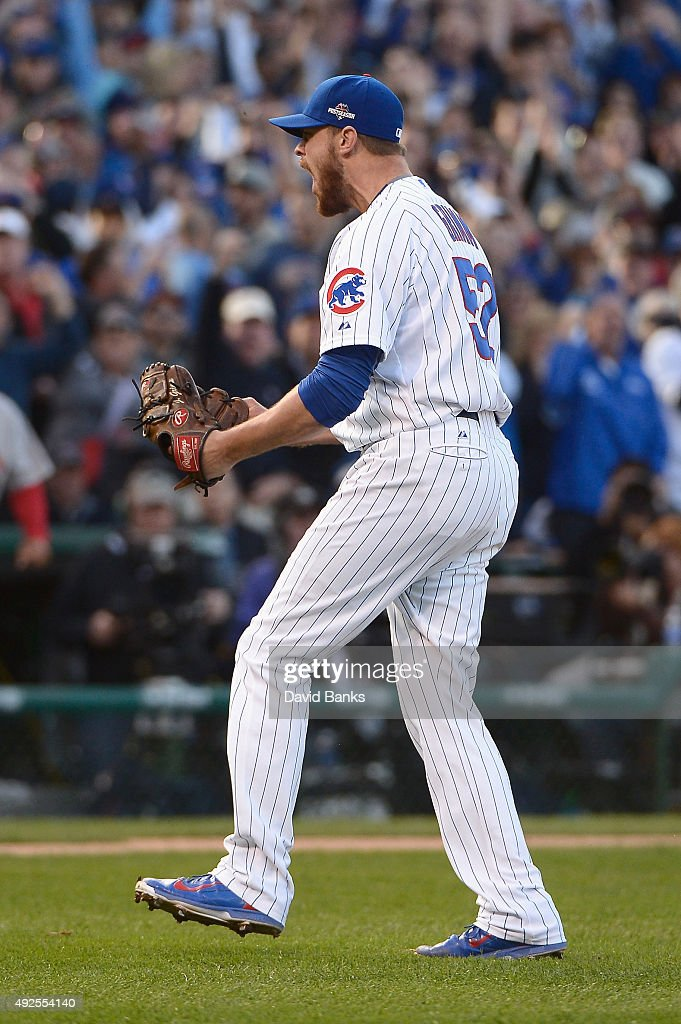 <a gi-track='captionPersonalityLinkClicked' href=/galleries/search?phrase=Justin+Grimm&family=editorial&specificpeople=9480126 ng-click='$event.stopPropagation()'>Justin Grimm</a> #52 of the Chicago Cubs reacts after the fourth inning against the St. Louis Cardinals during game four of the National League Division Series at Wrigley Field on October 13, 2015 in Chicago, Illinois.