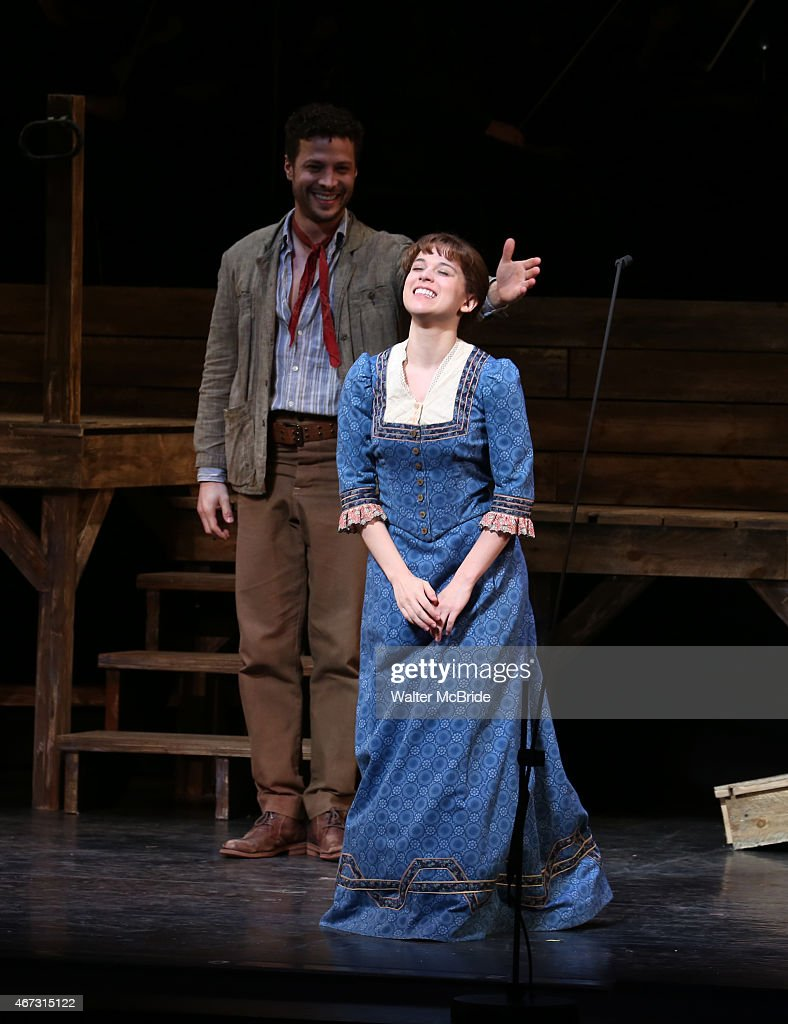 Justin Guarini and Alexandra Socha during the The Encores 'Paint Your Wagon' closing night curtain call at City Center on March 22 2015 in New York...