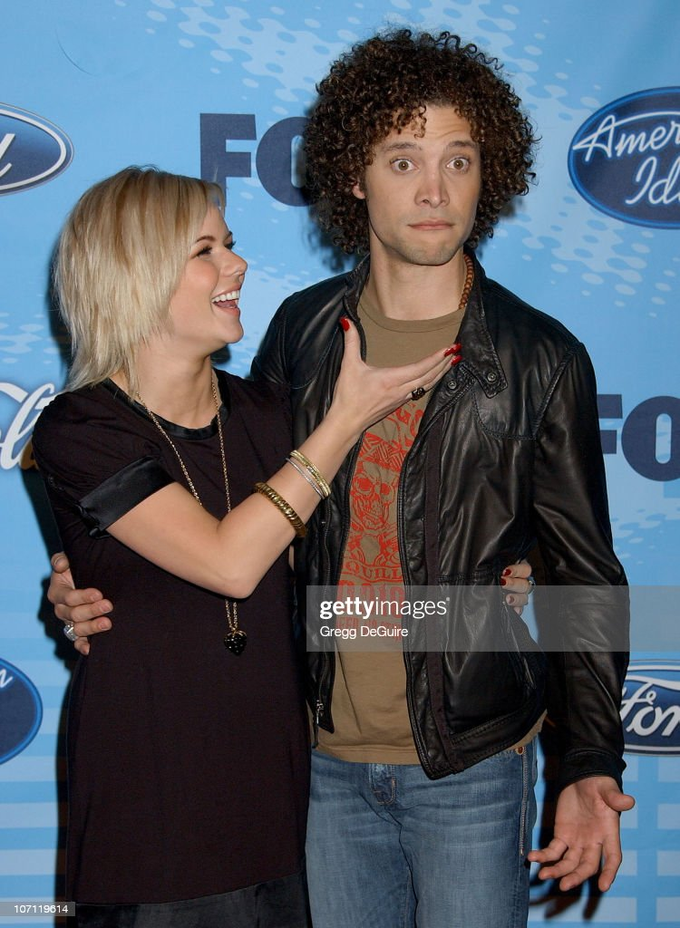 Justin Guarini and Kimberly Caldwell during 'American Idol' Top 12 Finalists Party Arrivals at Astra West in West Hollywood California United States