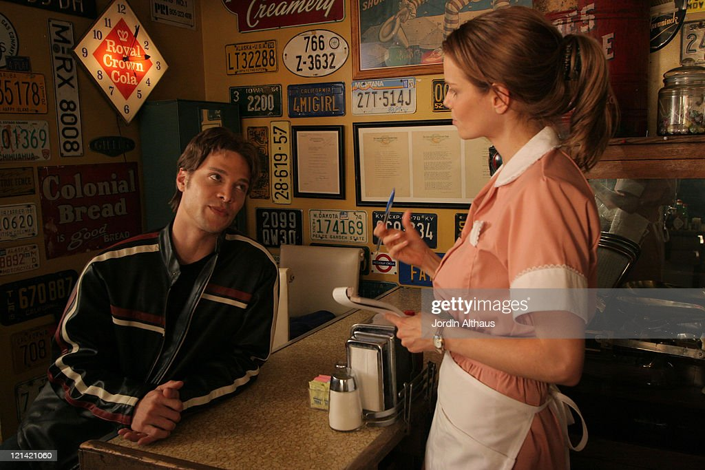 Justin Guarini and Mircea Monroe during On Location for 'Fast Girl' December 16 2006 at Way Station Coffee Shop in Newhall California United States