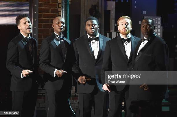 Justin Guarini Kevin Smith Kirkwood Okieriete Onaodowan David Abeles and Chuck Cooper perform onstage during the 2017 Tony Awards at Radio City Music...